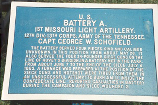 1st Missouri Light Artillery, Battery A Tablet