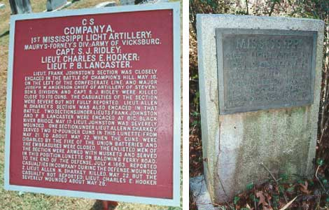 1st Mississippi Light Artillery, Company A Tablet and Marker