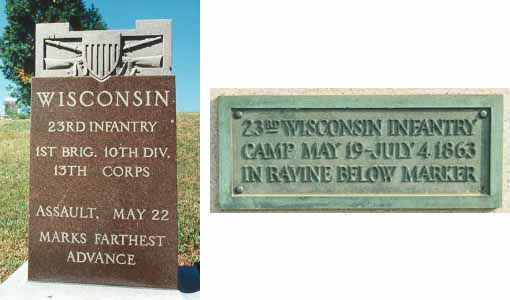 23d Wisconsin Infantry Assault and Camp Markers