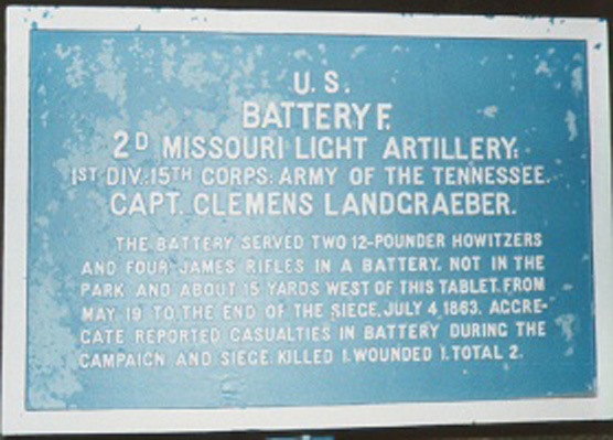 2d Missouri Light Artillery, Battery F Tablet