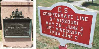 6th Missouri Infantry Assault Marker and Position Tablet