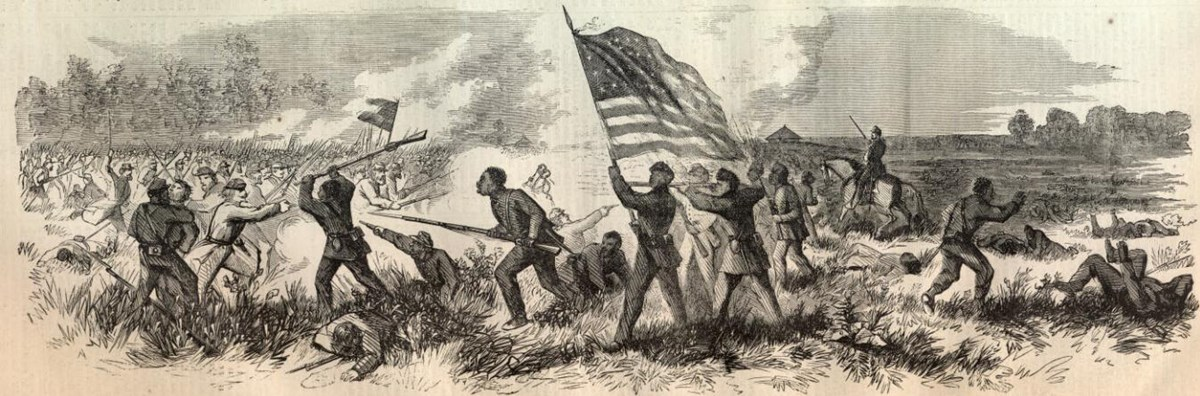 Drawing of Union Troops repelling the Confederate assault at Milliken's Bend