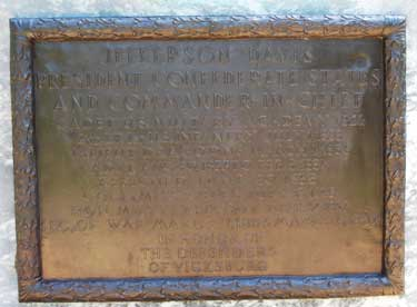 Jefferson Davis Statue Plaque