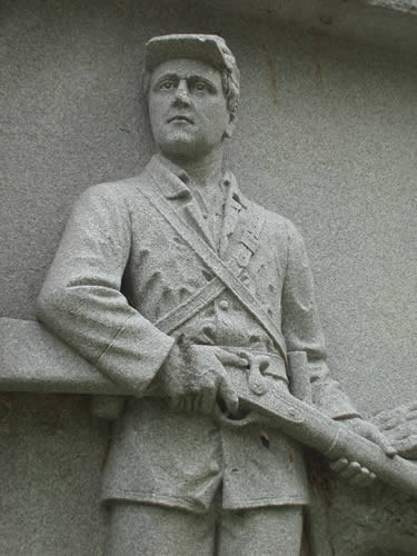 Sculpture of soldier on an Ohio Monument