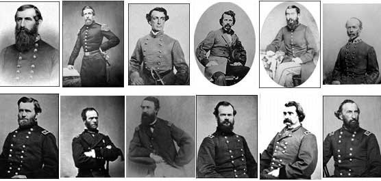 Top - Confederate Commanders (left to right): Pemberton, Bowen, Smith, Van Dorn, Tracy, Johnston Bottom - Union Commanders (left to right): Grant, Sherman, Porter, McPherson, Logan, McClernand