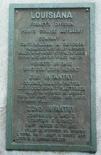 Point Coupee Artillery, Co. B Regimental Monument