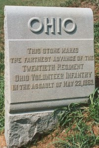 20th Ohio Infantry 22 May 1863 Assault Marker