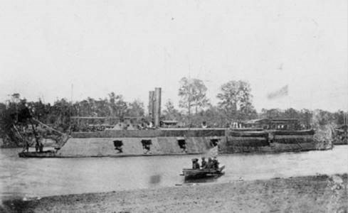 USS Pittsburg in river