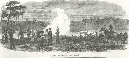 Sketch - Union Guns Shelling the Confederate Line