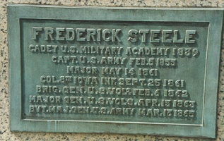 Plaque at base of Maj. Gen. Frederick Steele statue