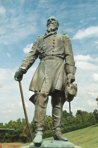 Maj. Gen. Frederick Steele, bronze statue, close up