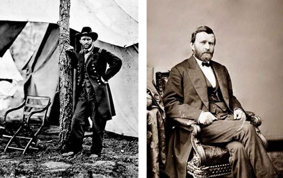 Major General Ulysses S. Grant - Left: As commander of the Army of the Tennessee; Right: as President of the United States.