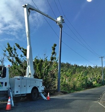 BBC Truck working on power lines