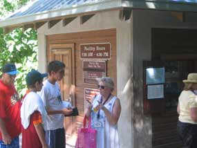 Visitors gather at the Fee Booth at Trunk Bay beach.
