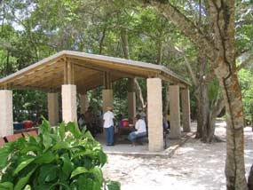 Seniors enjoying a picnic at one of the two picnic pavilion at Hawknest.