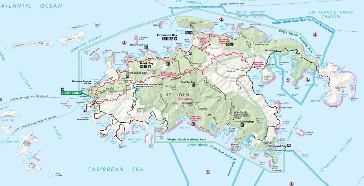Us Virgin Islands National Park Map Introduction to VINP   Virgin Islands National Park (U.S. National
