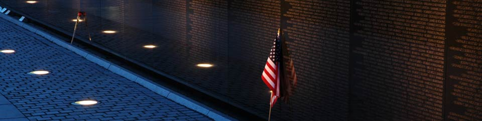 Vietnam Veterans Memorial Wall at night