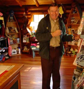 A dedicated volunteer helps at the Ash River Visitor Center.