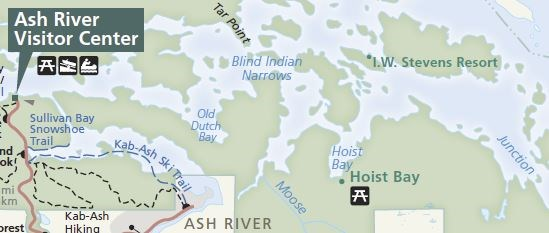 This map shows the approximate location of the Hoist Bay and I.W. Stevens Cabin locations