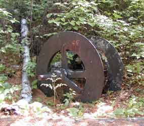 A old wheel remnant from the gold mining era.