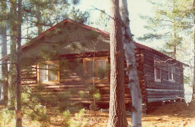 A historic log cabin surrounded by pine trees.