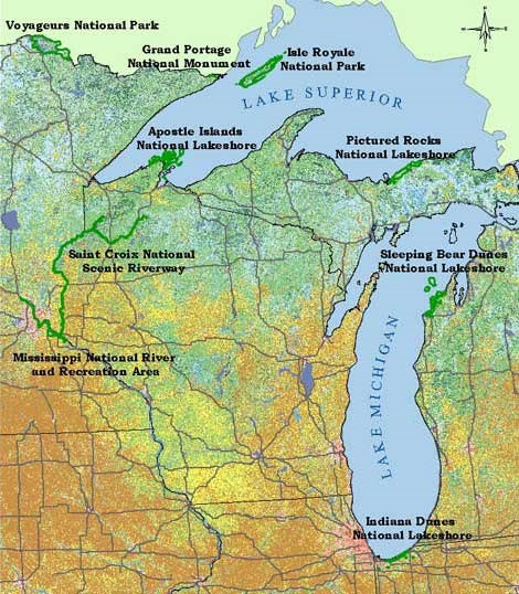 Map showing the nine sites of the Great Lakes Inventory and Monitoring Network, Voyageurs, Isle Royale, Grand Portage, Apostle Islands, Saint Croix, Pictured Rocks, Sleeping Bear Dunes, and Indiana Dunes, Mississippi River