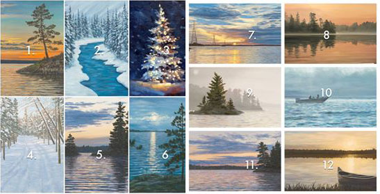 A series of 12 paintings by local artist, Cherie Serrano, that represent Voyageurs National Park and the surrounding area.