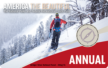 "The 2020 Annual Pass depicts a skier crossing a wide, snowy slope and has the word ""Annual"" written at the bottom of the pass."