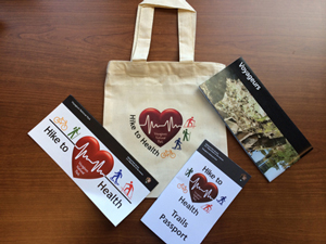 Hike to Health Trails Passport kit, bag and brochures.