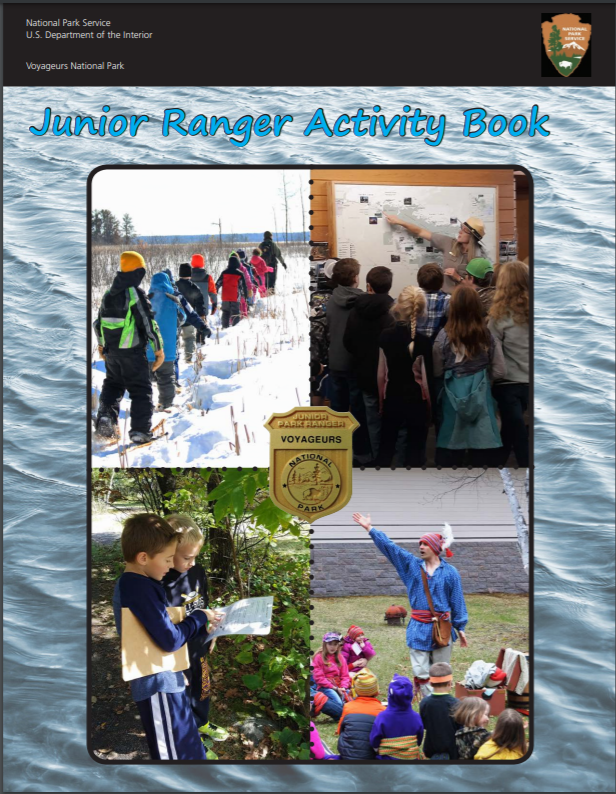 Four images on the cover. One shows kids snowshoeing, one has kids gathered around a map while a park ranger points, one has two kids looking at a paper outside, and the last image shows a person dressed up as a voyageur in colorful clothing.