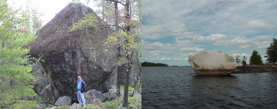 Two examples of glacial erractics found in Voyageurs National Park