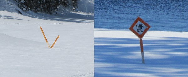 Crossed oranged sticks or orange diamonds mark ice hazards in the winter
