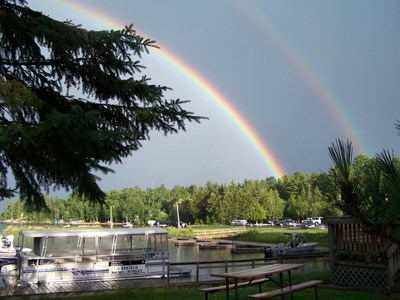 Two rainbows over the marina at Kabetogama