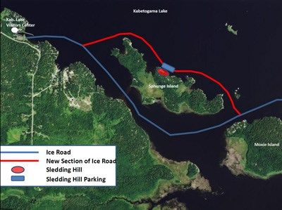 Map of the Sphunge Island sledding hill location from ice roads