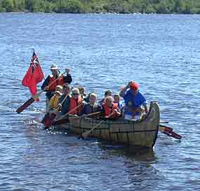 Visitors paddling in a North Canoe
