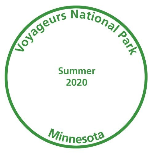 A passport stamp that says 'Voyageurs National Park' on the top, 'Summer 2020' in the middle and 'Minnesota' on the bottom.