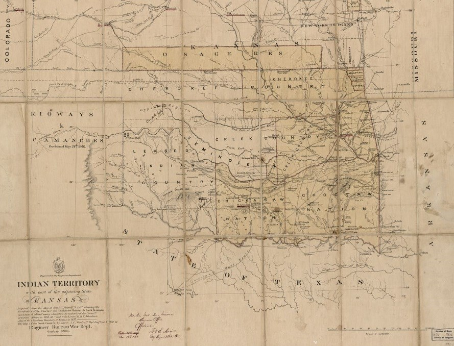 1866 Oklahoma Map titled Indian Territory indicating location of various tribes