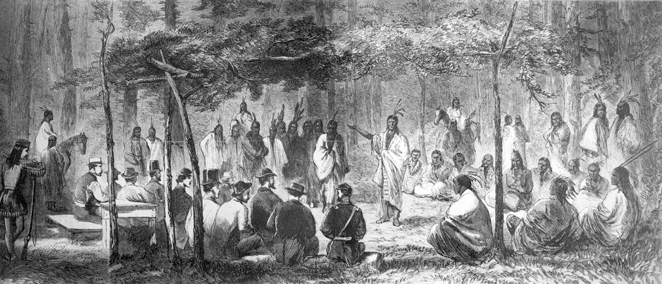 Medicine Lodge Treaty depiction showing gathering Cheyenne Indians gathered with Peace Commissioners in a circle. In the center is a Cheyenne man with hand outstretched and giving a speech.