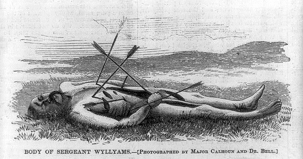 Lithograph of a naked, dead soldier with arrows pierced in his body.