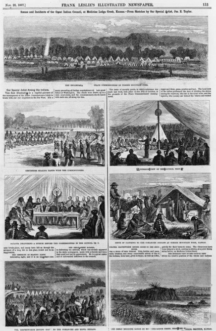 Frank Leslie's Illustrated Newspaper, from the 1860's, depicting lithograph images of the Medicine Lodge Treaty. Such images depict important events from the treaty, such as Indians meeting with peace commissioners in discussions.