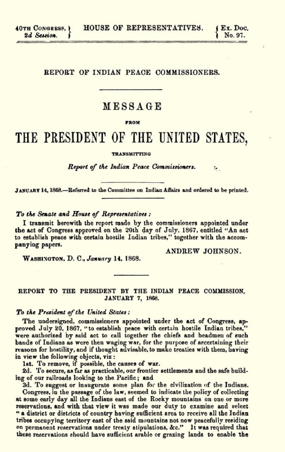 Indian Peace Commission Report, from 1868.