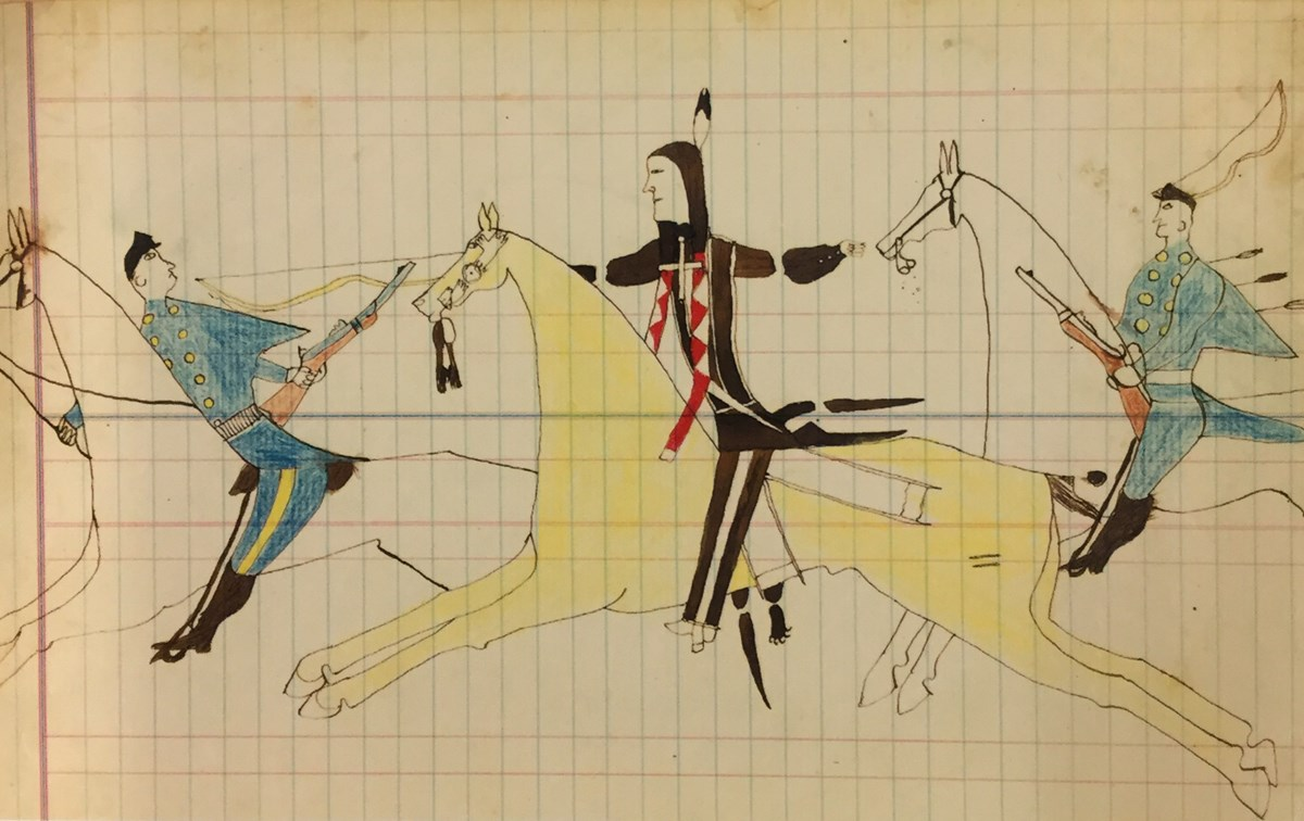 19th century Cheyenne ledger art depicting battle scene between a warrior and two soldiers