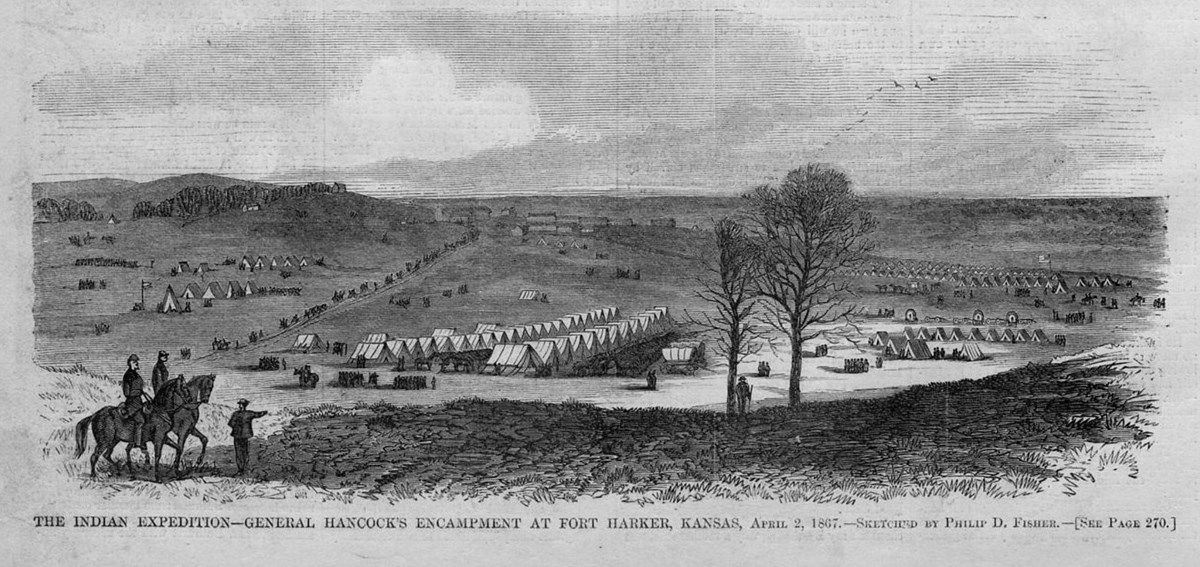 Lithograph from 1867 depicting army encampment on the Great Plains.