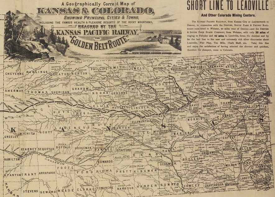 Period map showing railroad through Kansas, 1865-1880