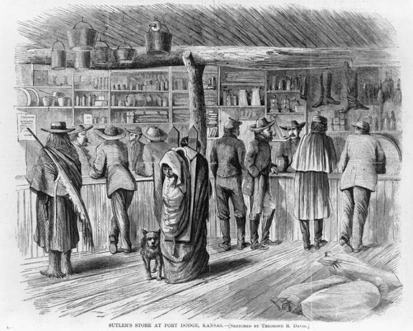 1860's lithograph of a sutler's store in Fort Dodge, Kansas.