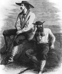 Lithograph of Edward Wynkoop and interpreter. From Harper's Weekly, 1868.