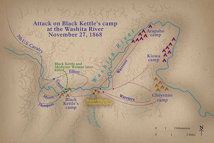 Battle Map of the Attack Along the Washita