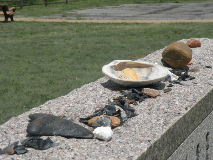 Prayers in the form of stones and shells at Washita
