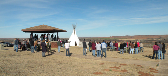 Visitors commemorating the 141st anniversary of the attack on the Washita