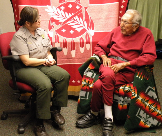 Cheyenne Elder Eugene Blackbear with Washita Superintendent Lisa Conard Frost